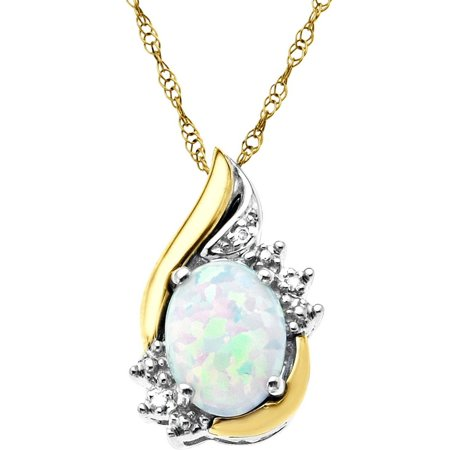 18ct Yellow Gold Opal Pendant (Sterling Silver with 10kt Yellow Gold Oval Created Opal and Diamond Accent Pendant)