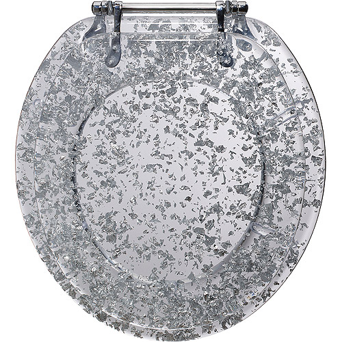 Ginsey Standard Deluxe Silver Foil Toilet Seat with Chrome Hinges