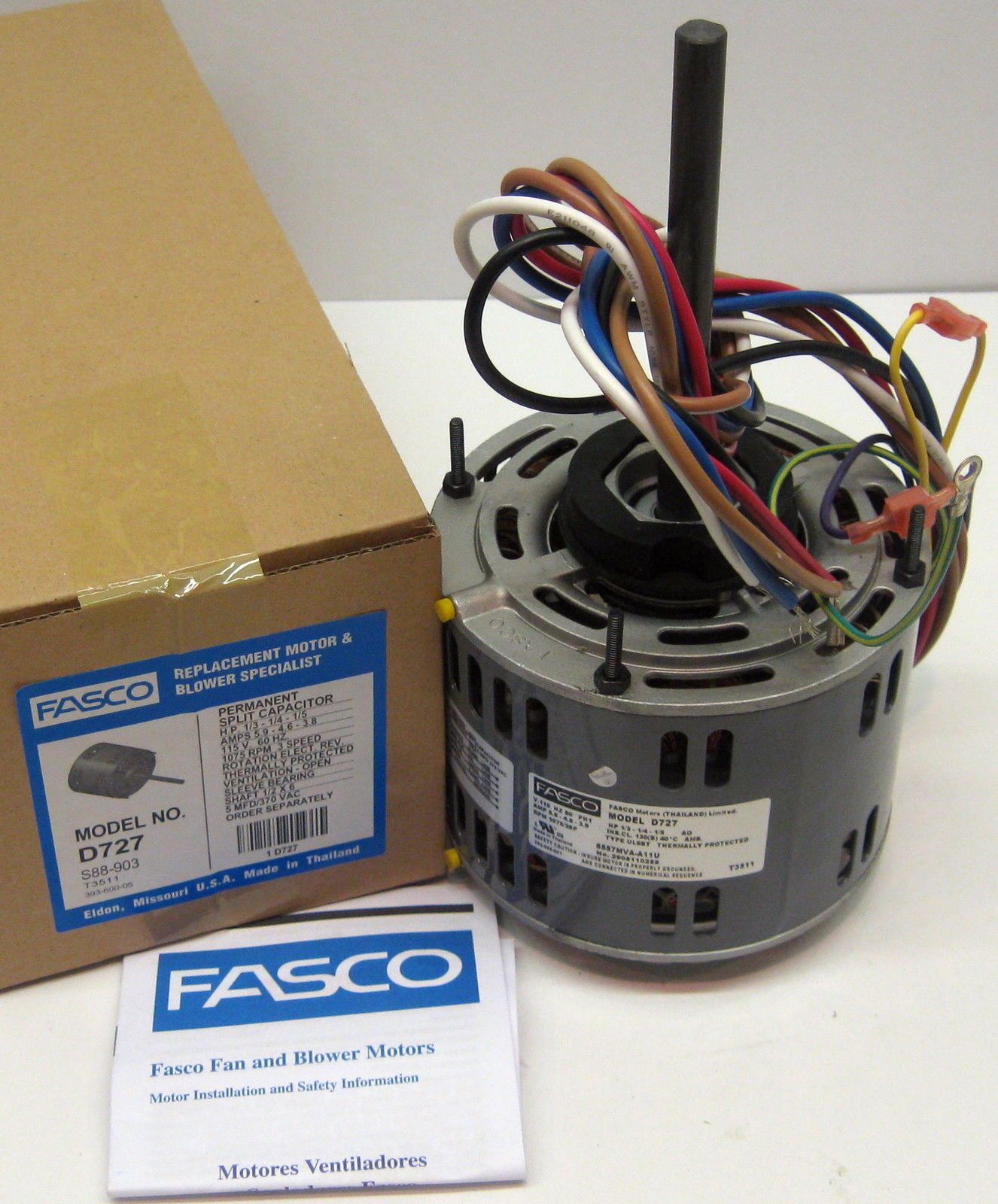 d727 fasco 1 3 hp 1075 rpm 115 v 3 speed furnace blower fan motor  d727 fasco 1 3 hp 1075 rpm 115 v 3 speed furnace blower fan motor