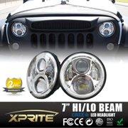 "Xprite 7"" Round 90W Hi/Lo Beam 15W Cree XT-E Chip LED Chrome Headlights For Jeep Wrangler JK Unlimited TJ LJ 1997 - 2017"