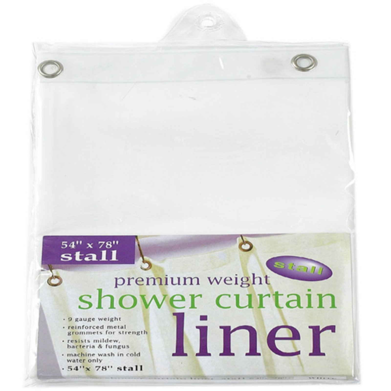 Shower Stall-Sized, 8 Gauge Vinyl Shower Curtain Liner in White by Carnation Home Fashions