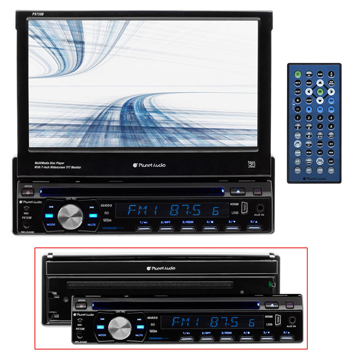 "Planet Audio Single-Din DVD Player 7"" Motorized Touchscreen Detach Panel Bluetooth"