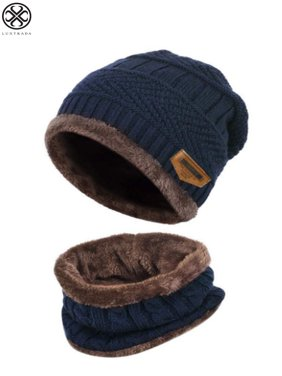 Luxtrada 2PCs/Set Womens Mens Winter Hat Warm Thick Beanie Cap + Scarf for Winter Knit Ski Beanies (Blue)