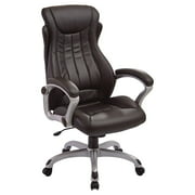 Bonded Leather Executive Managers Chair with Padded Arms and Coated Nylon Base, Multiple Colors