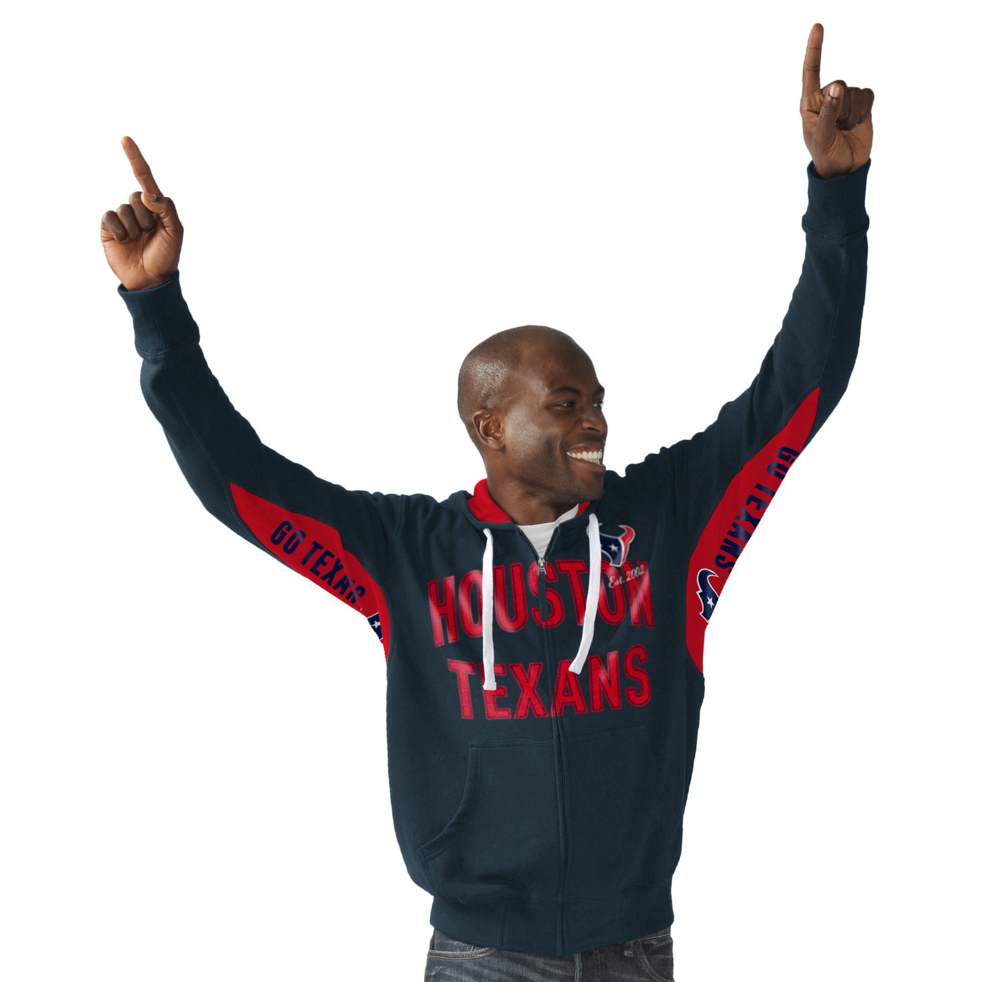 Houston Texans Hands High Sueded Playoff Full-Zip Hoodie - Navy