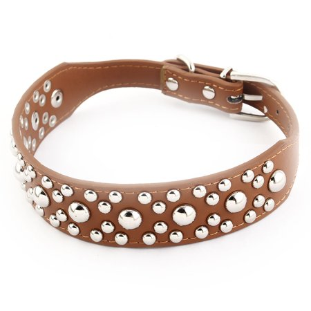Metal Single Buckle Rivet Decor Faux Leather Pet Dog Neck Strap Collar Brown M