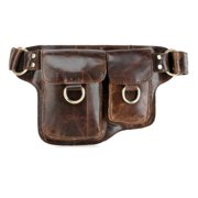 Adonis 2 Leather Waist Purse Fanny Pack 3013BROWN