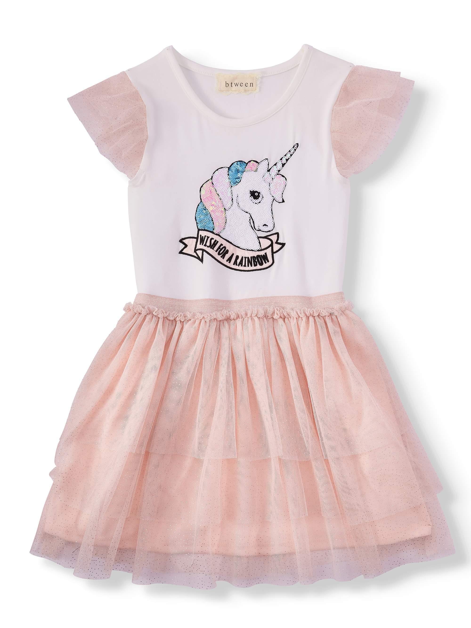 Sequin Unicorn Tiered Mesh Dress (Little Girls & Big Girls)
