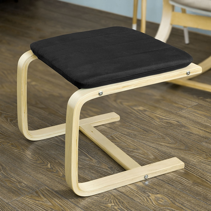 Haotian FST38-W, Beech Wood Footstool Footrest with Cushion, Foot Leg Rest by