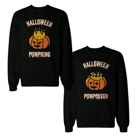 Halloween Pumpking And Pumpqueen Couple Sweatshirts Matching Tops (Celebrity Couples For Halloween Ideas)
