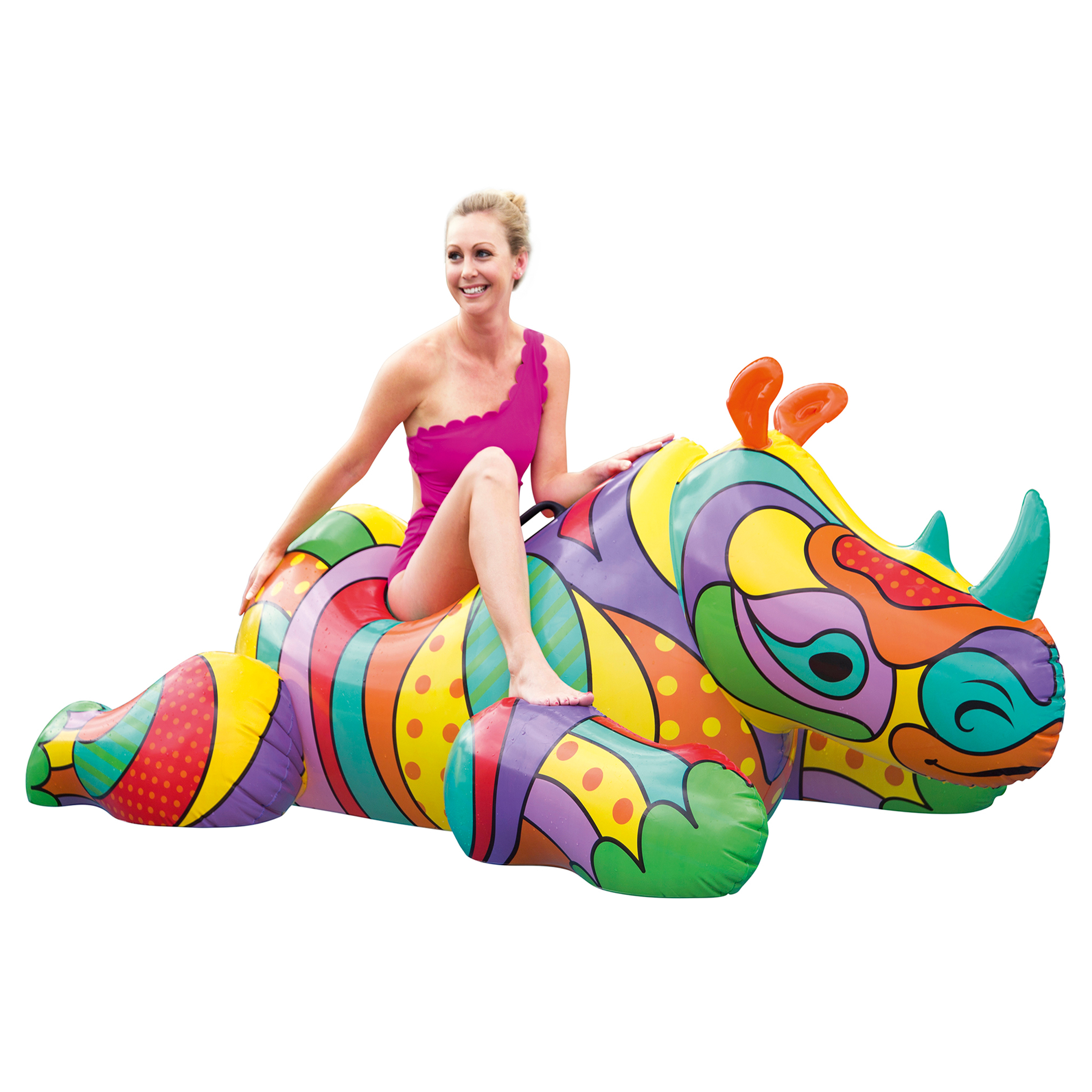 H2OGO! 6`7`` X 40`` POP Rhino Ride-on Pool Float