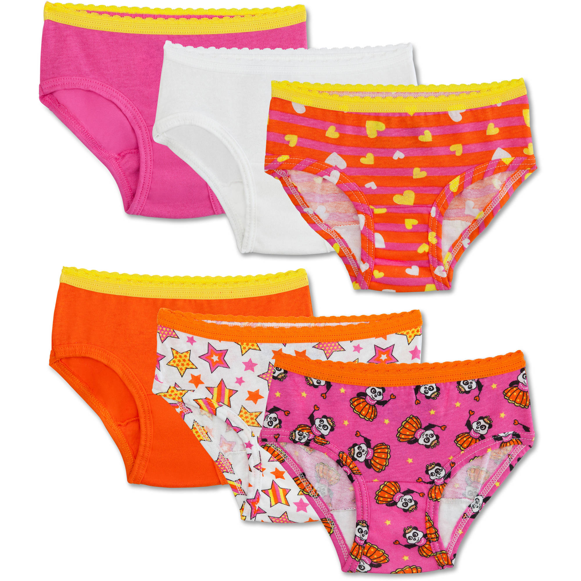 Fruit of the Loom Toddler Girls 100% Cotton Hipster Underwear Panties, 6-Pack