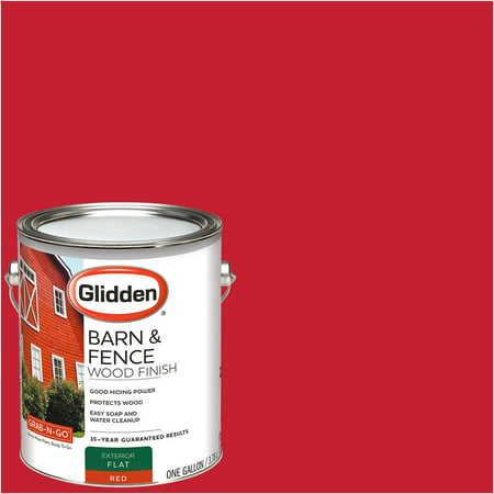 - Glidden Grab-N-Go Barn & Fence, Exterior Paint, Red, Flat Finish, 1 Gallon