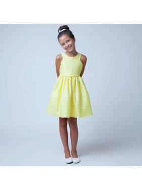 f79ff428a Product Image Sweet Kids Little Girls Yellow Floral Jacquard Easter Special  Occasion Dress 2-6