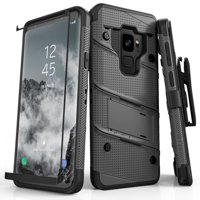 ZIZO BOLT Series Samsung Galaxy S9 Case Military Grade Drop Tested with Tempered Glass Screen Protector Holster METAL GRAY BLACK