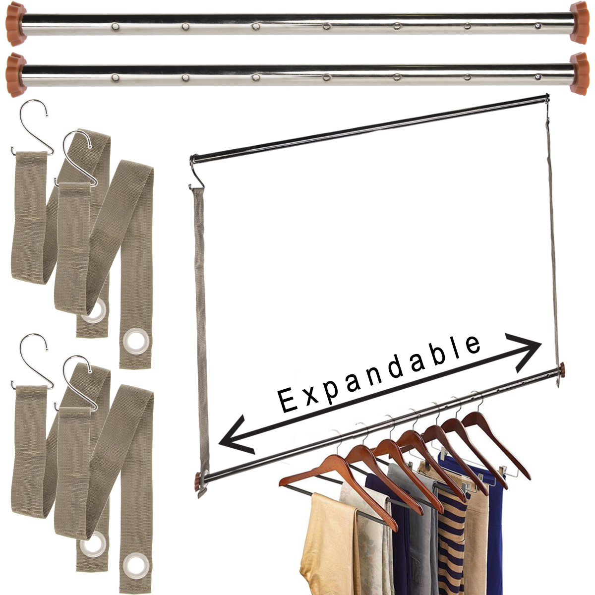 Michael Graves (3 Pack) Extendable Closet Hanging Bars Doubler Rods Clothes  Organizer