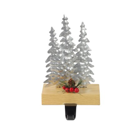 "8.5"" Galvanized Metal and Wood Tree Shaped Christmas Stocking Holder"