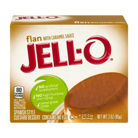 Jell O Spanish Style Custard Dessert Flan With Caramel Sauce  3 Oz