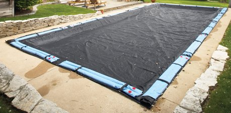 Winter mesh pool cover inground 16x32 rectangle swimming pool for How to winterize an inground swimming pool