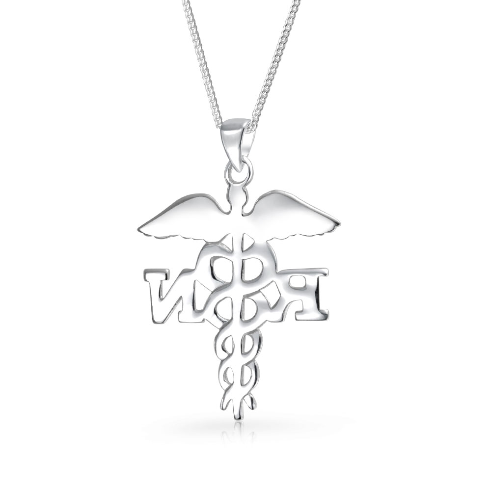Rn Registered Nurse Symbol Caduceus Pendant Stelring Silver Necklace