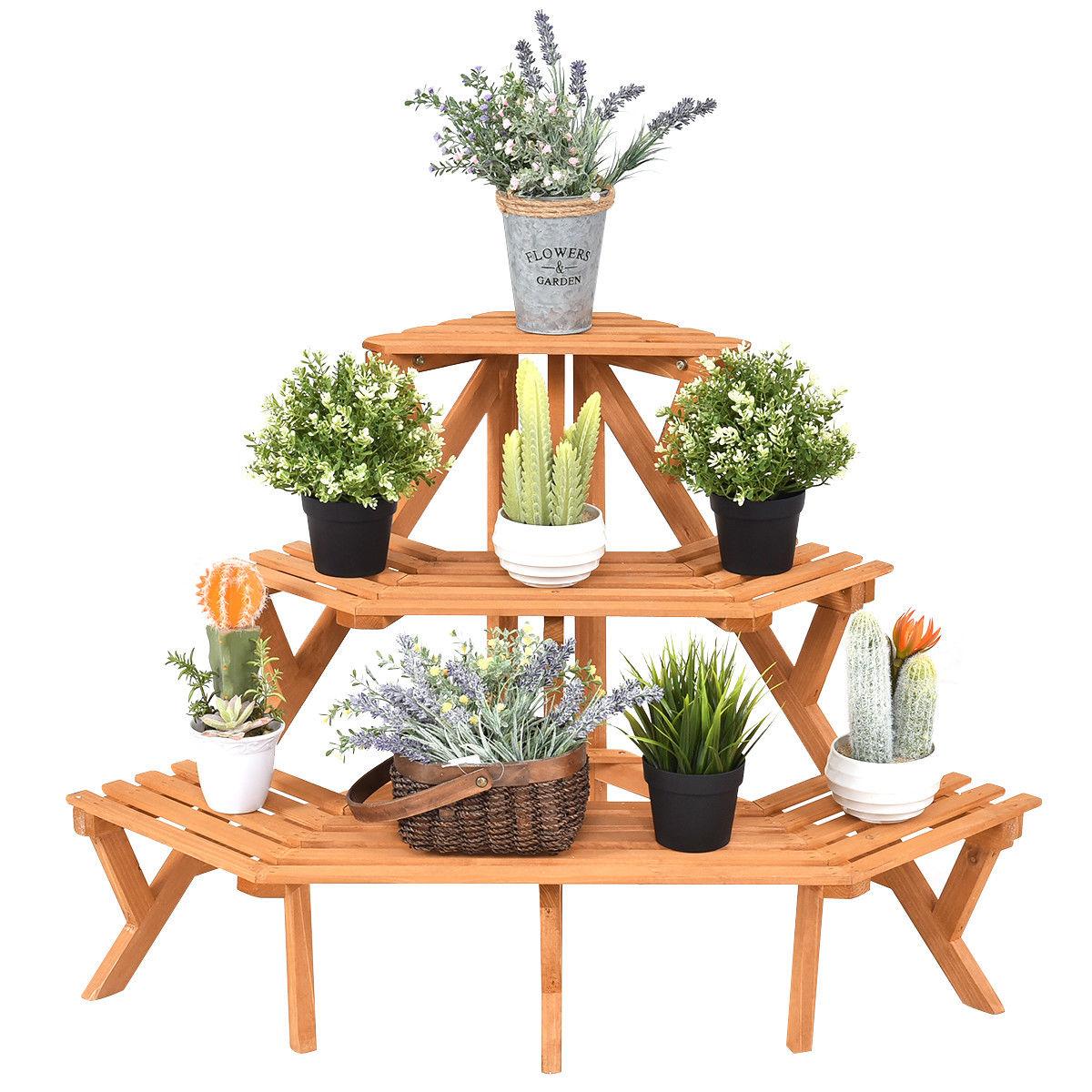 Costway 3 tier wood corner flower stand plant ladder pot holder display rack shelf