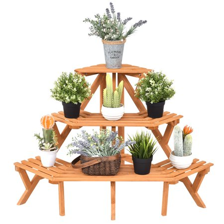 3 Tier Shelf Media Storage (Costway 3 Tier Wood Corner Flower Stand Plant Ladder Pot Holder Display Rack Shelf )