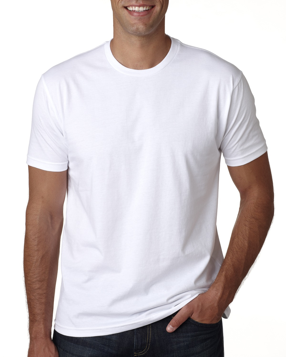 Branded Next Level Mens Cotton Crew - WHITE - 3XL (Instant Saving 5% & more)