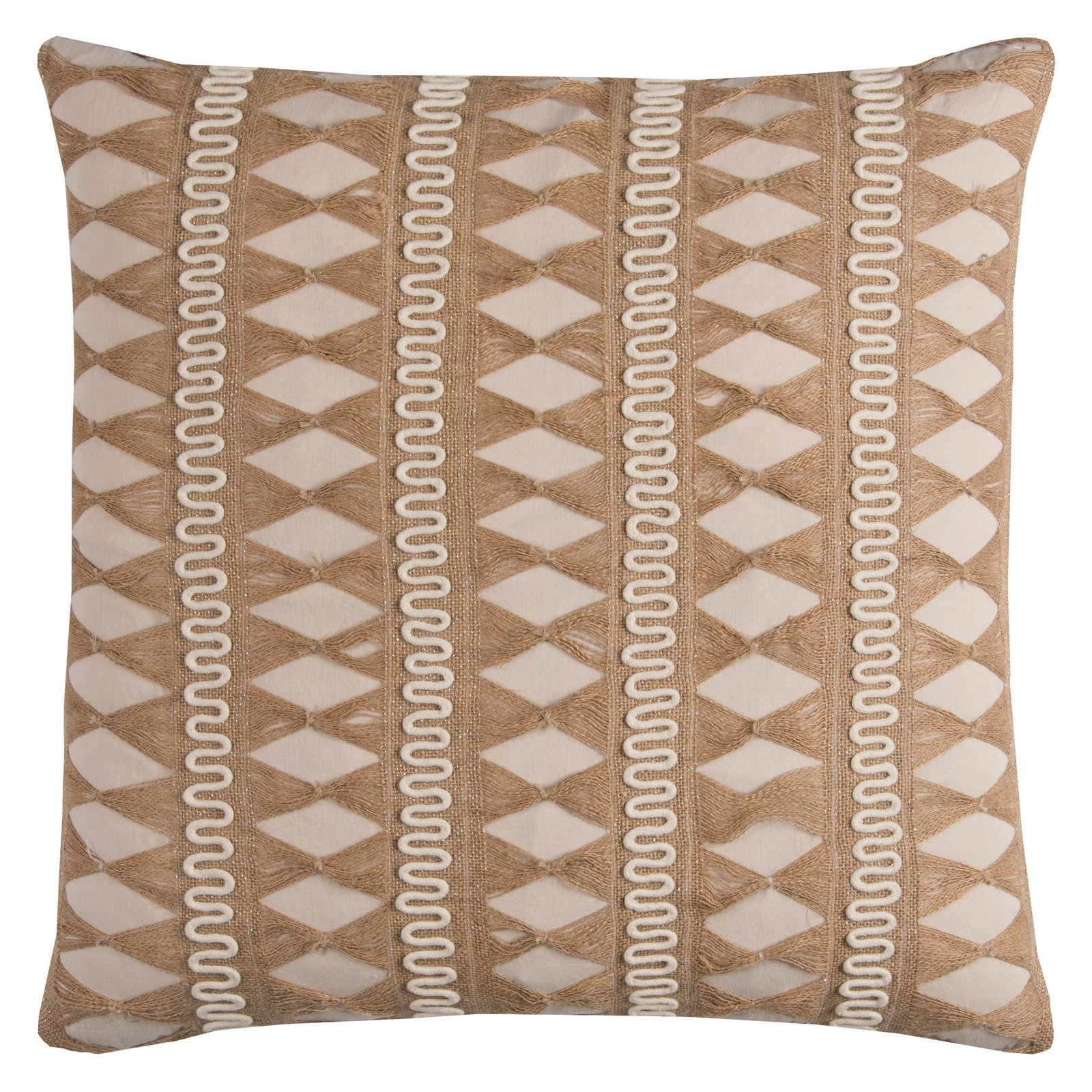 "Rizzy Home Decorative Poly Filled Throw Pillow Geometric 22""X22"" Beige"