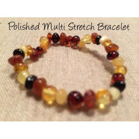 Polished Multi Stretch Baltic Amber Bracelet for Baby, Infant, Toddler, Big Kid (Handmade Baltic Amber Bracelet)