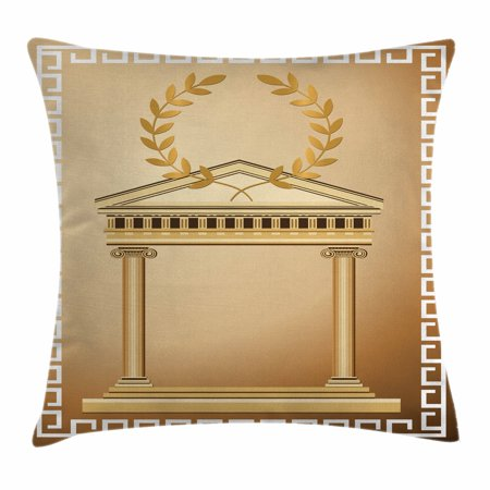 Togas Greek Or Roman (Toga Party Throw Pillow Cushion Cover, Antique Temple with Roman Olive Branch and Greek Architecture Motif, Decorative Square Accent Pillow Case, 16 X 16 Inches, Light Brown and Coffee, by)