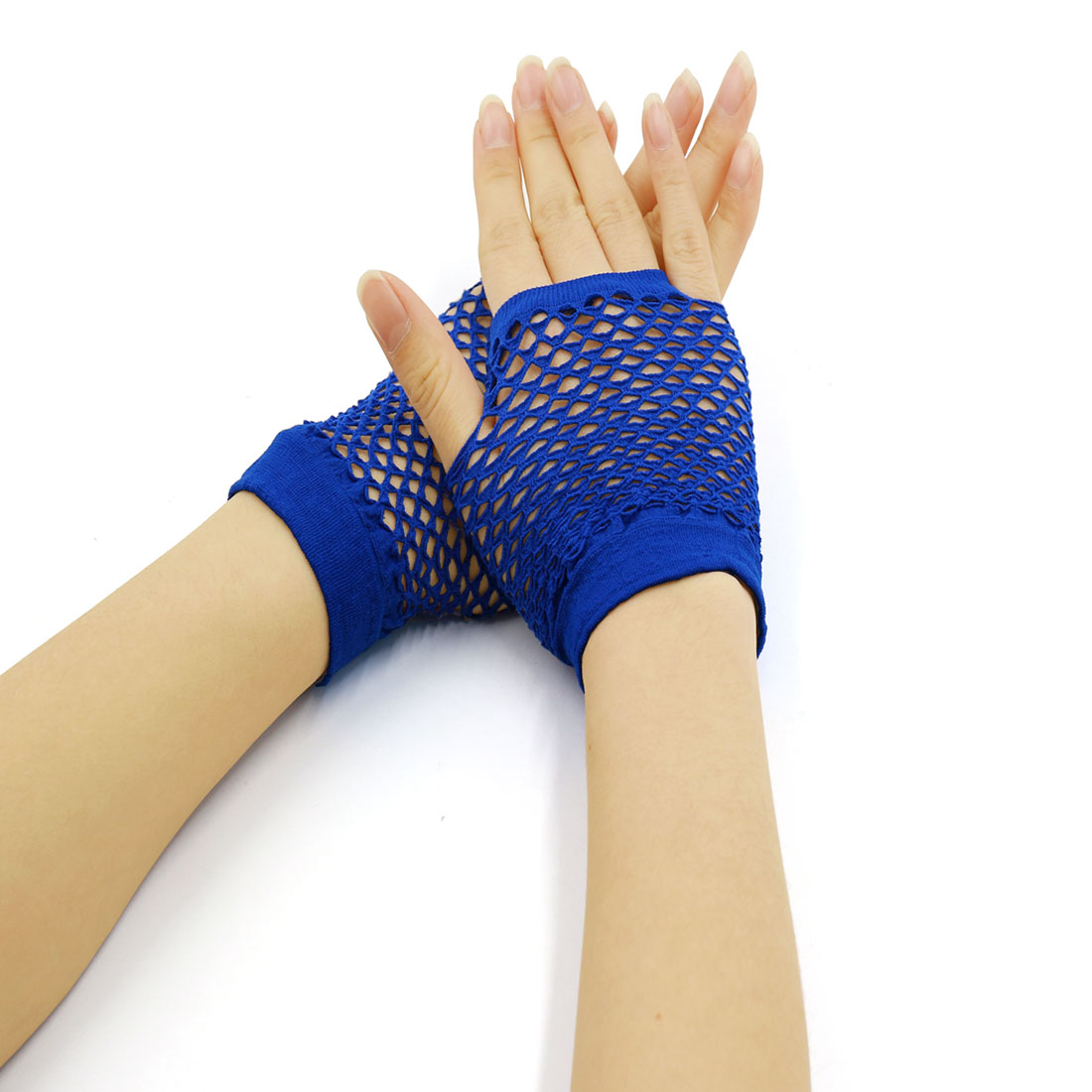 Buy 1 Get 1 Free | Women's Wrist Length Stretchy Fingerless Fishnet Gloves Blue