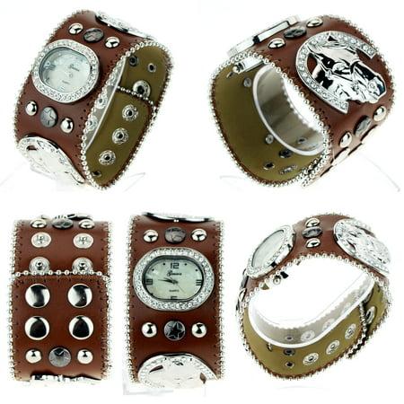 Tomboy Womens Rhinestone Horse Shoes Cowboy Western Leather Bracelet Wrist Watch ()