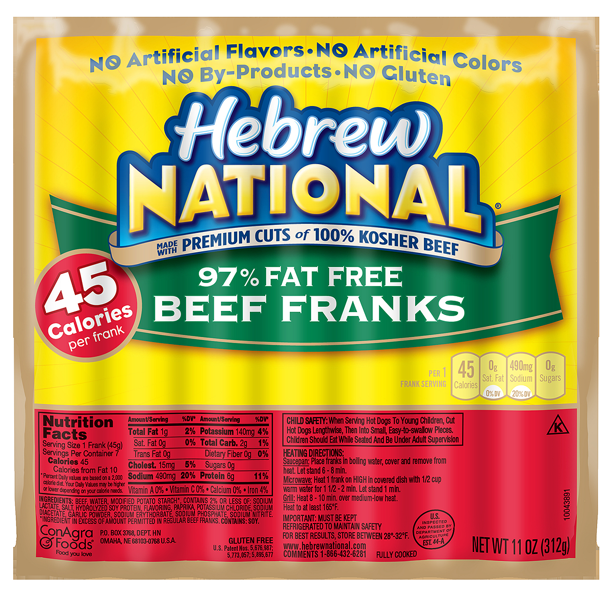 Hebrew National 97% Fat Free Beef Franks, 11 Ounce