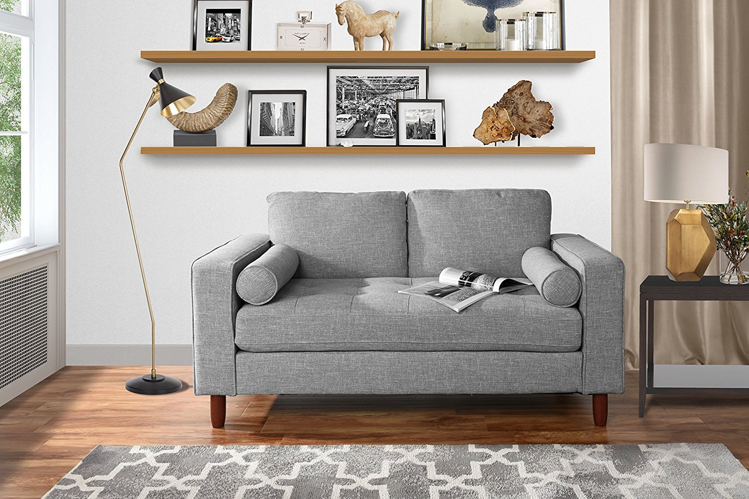 Modern Sofa Loveseat with Tufted Linen Fabric Living Room Couch (Light Grey) by Sofamania