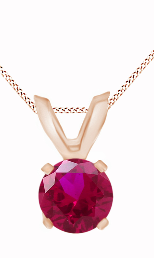 Round Cut Simulated Pink Ruby Solitaire Pendant Necklace In 14k Solid White Gold (0.18 Cttw) by Jewel Zone US