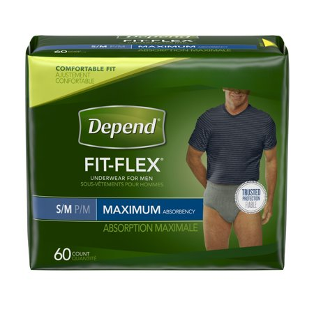 Depend Fit Flex Incontinence Underwear For Men  Maximum Absorbency  S M  60 Count