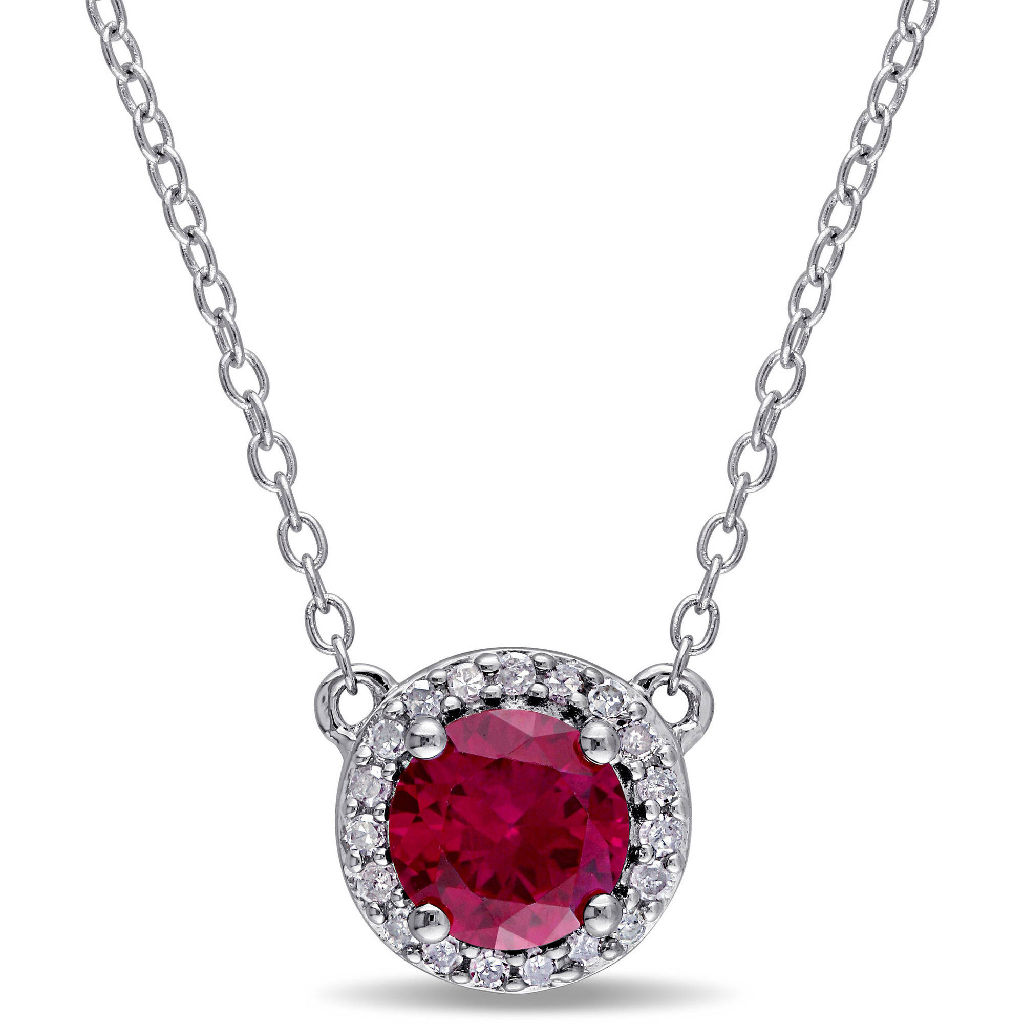 "Tangelo 1 Carat T.G.W. Created Ruby and Diamond-Accent Sterling Silver Halo Necklace, 16"" by Tangelo"