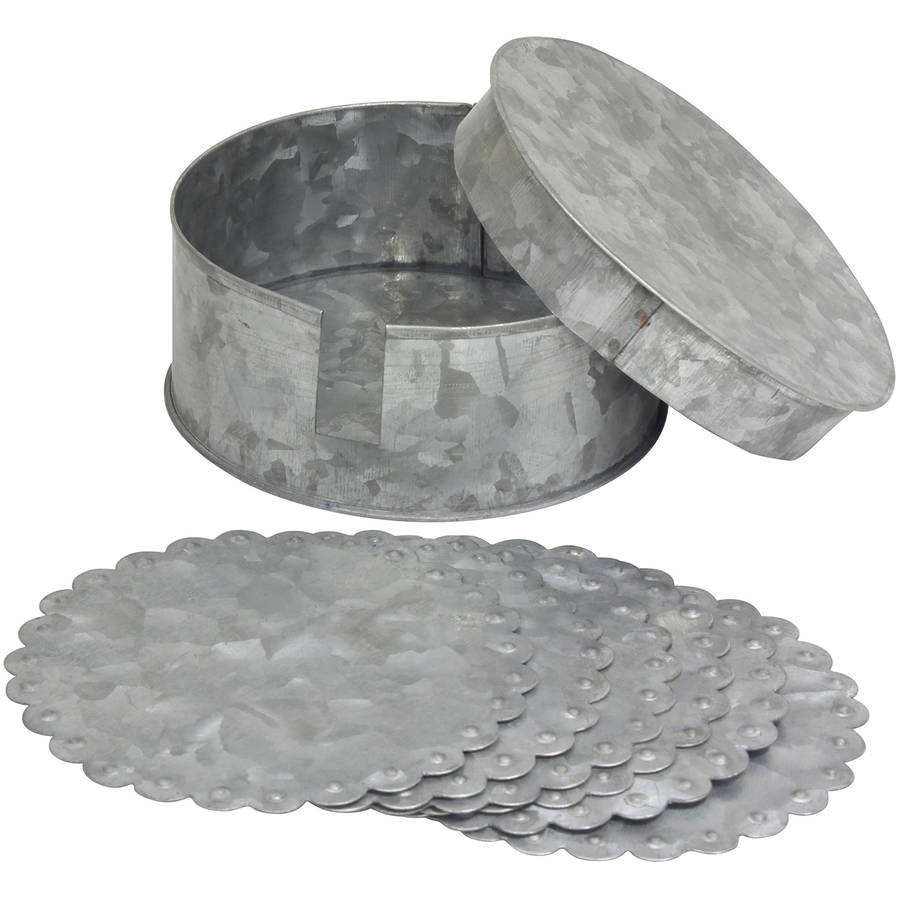 Antique Galvanized Round Coasters with Container, Set of 6 by CKK HOME DECOR