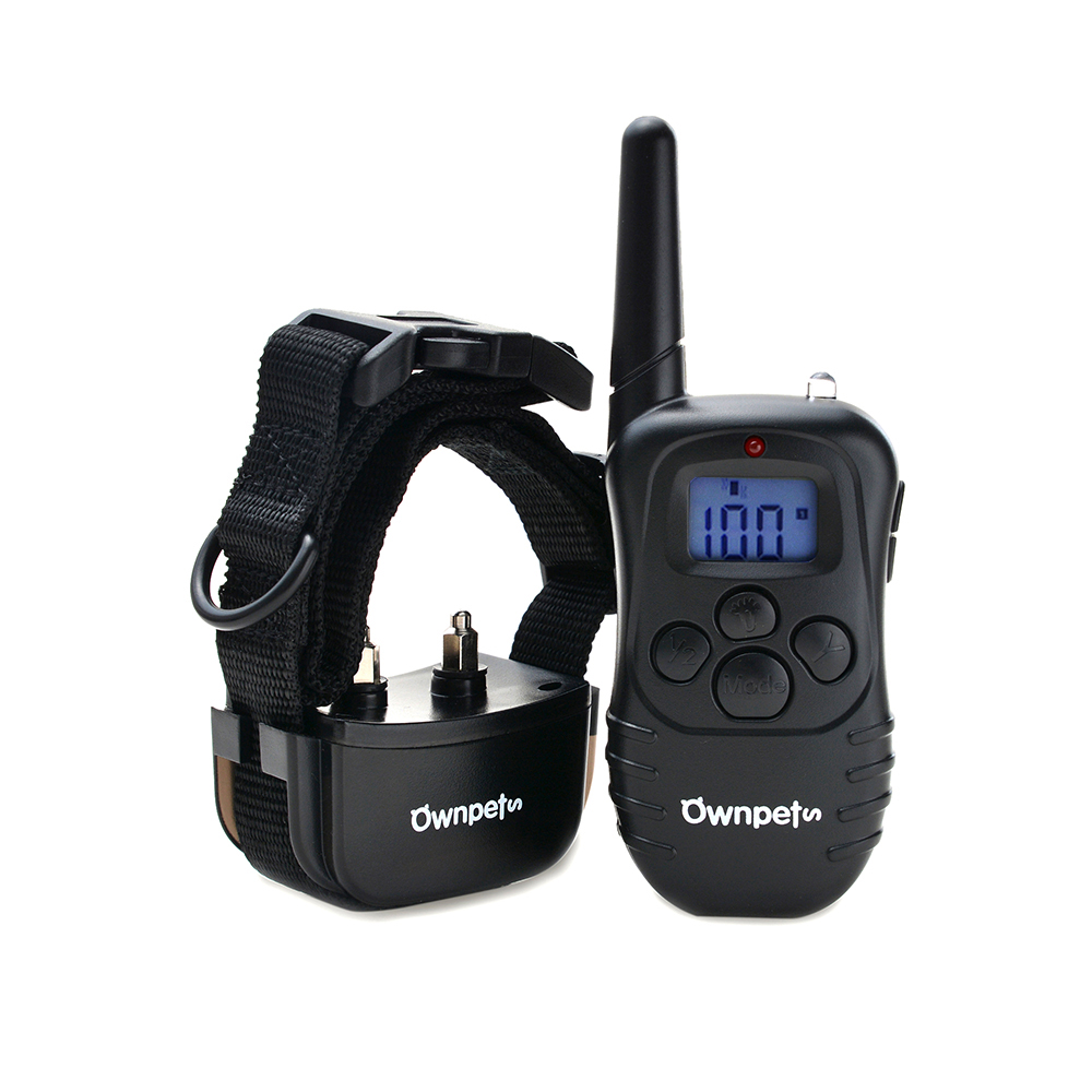 Ownpets Rechargeable 330 Yards Dog Shock Training Collar w  Static Shock Vibration  Beep Light by
