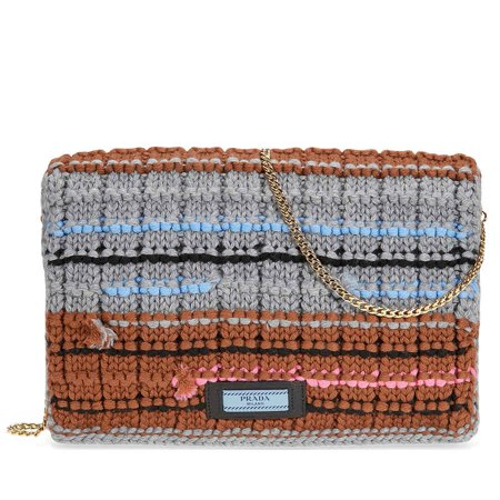 Prada Knit Wool with Fabric Tricot Bag - Grey