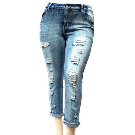 Jack david WOMENS PLUS SIZE BLUE Boyfriend Denim Jeans Ripped Distressed skinny pants