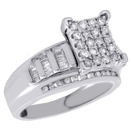.925 Sterling Silver Round & Baguette Diamond Rectangle Engagement Ring 0.75