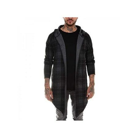 VICOODA Men's Casual Autumn and Winter Lapel Jacket Plaid Print Midi Hooded Cardigan Coat M-XXL Plaid Print Vest