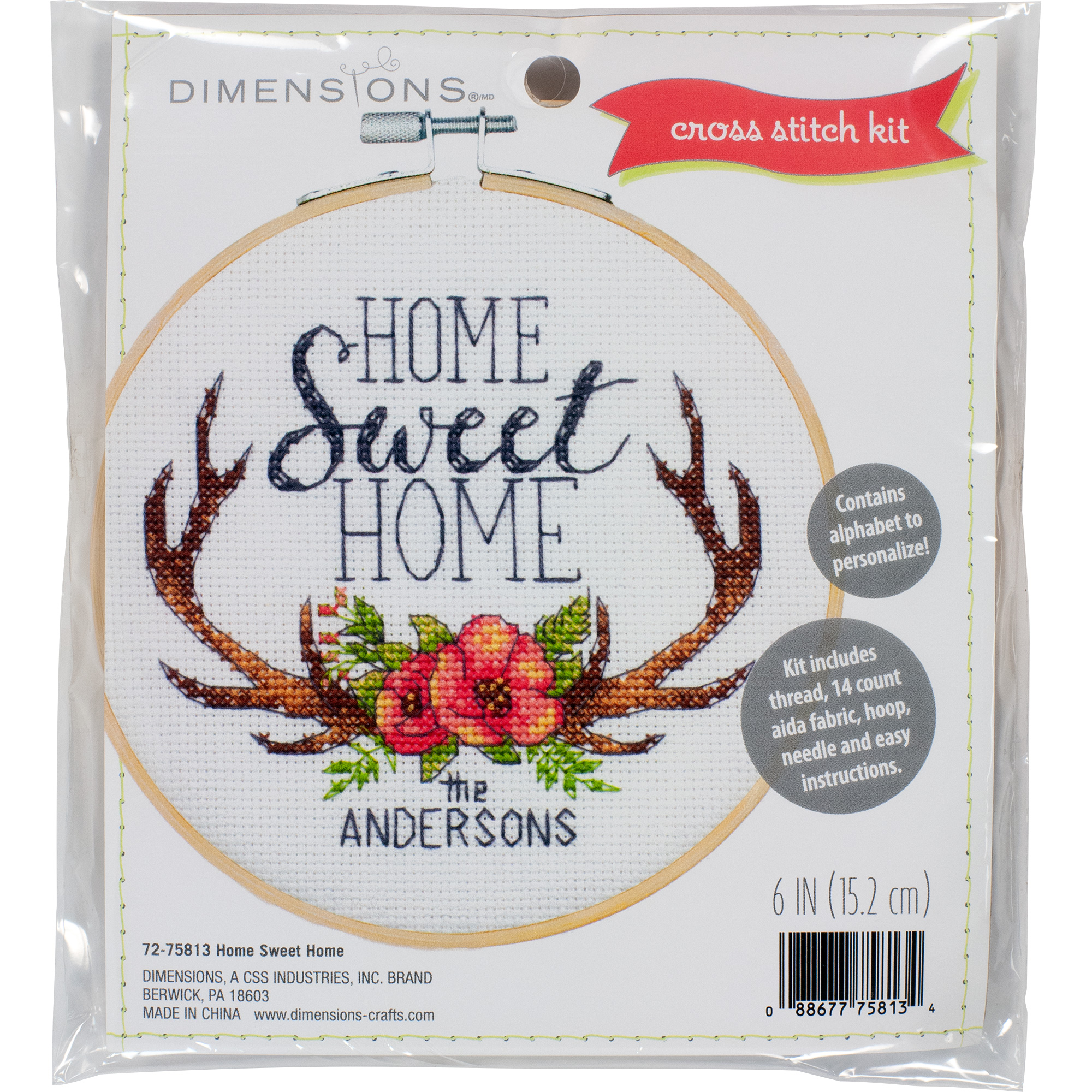 Home Sweet Home Dimensions Learn a Craft Embroidery Kit