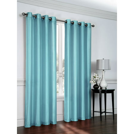 "Set of 2 Ramona Faux Silk Grommet Top Curtains, 84"" Long, Turquoise"
