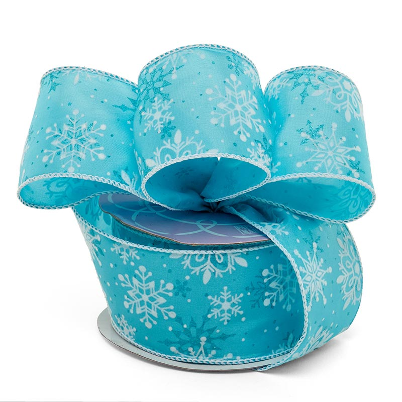 "2 1/2"" X 10 Yards Sky Blue Flckd Snowflakes Satin Ribbon Christmas by Paper Mart"