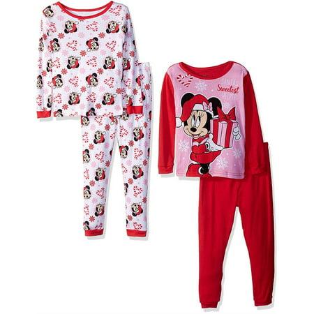 Disney Girls' Minnie Mouse 4-Piece Cotton Pajama Set, Holiday Hearts, Size: 3T