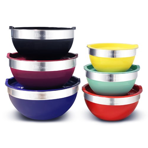 Elite EBS-0012 12-Piece Multicolor Mixing Bowl