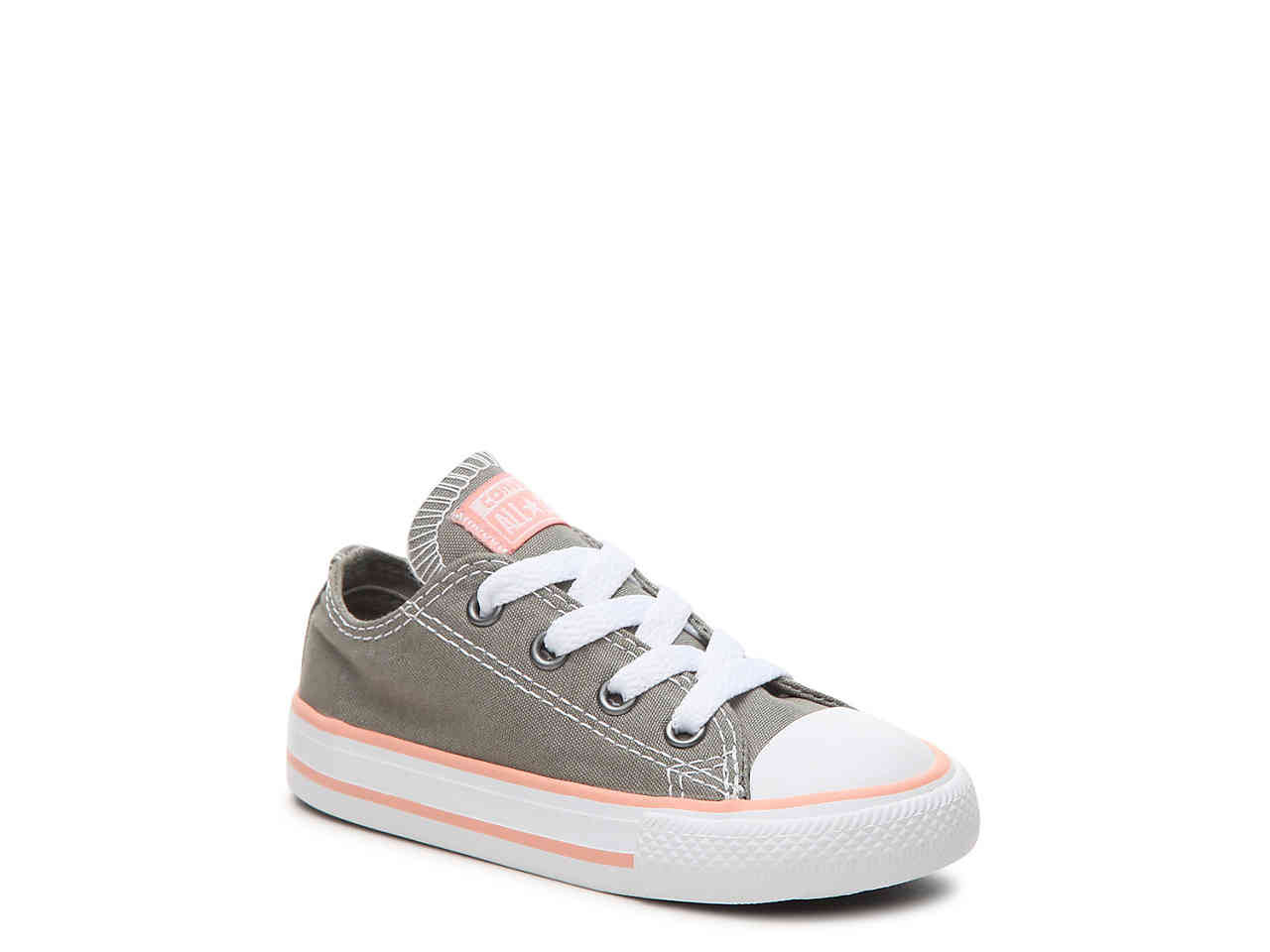 Chuck Taylor All Star Coral/White Lo Top Sneaker, Dark Stucco/Pale Coral/White Star 5.5Y 143f79