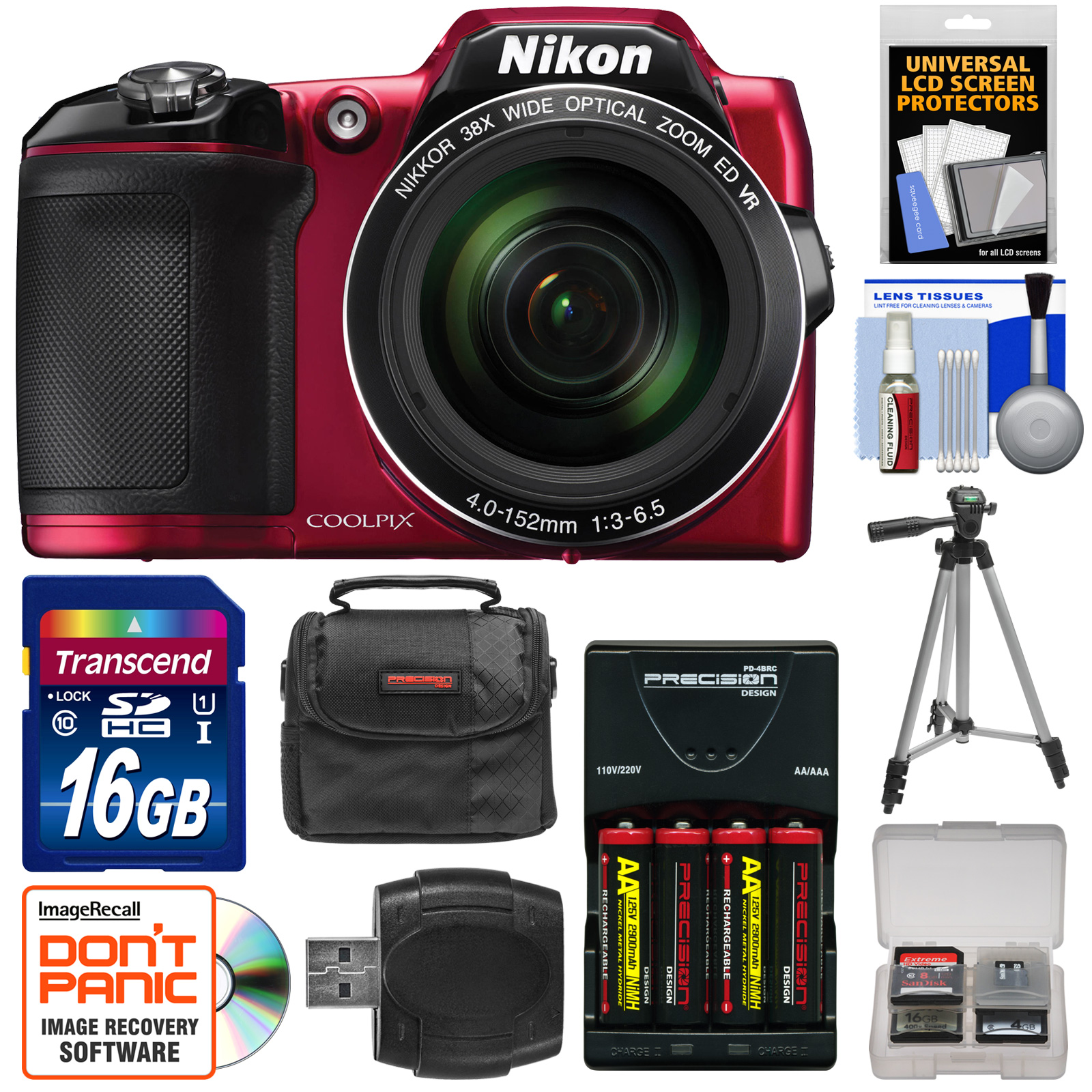 Nikon Coolpix L840 Wi-Fi Digital Camera (Red) - Factory Refurbished with 16GB Card + Batteries & Charger + Case + Tripod + Kit